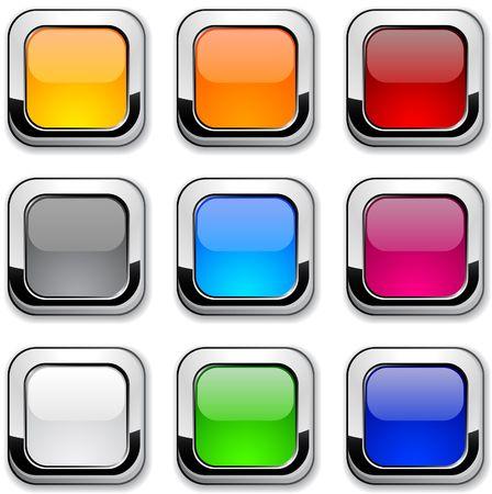 red metallic: Glossy metallic buttons. Illustration