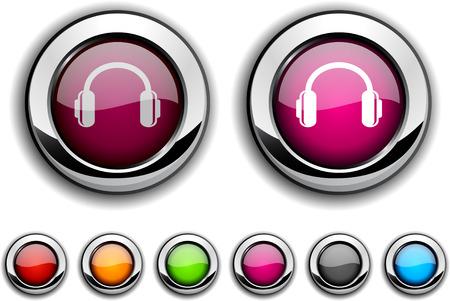 headphones realistic buttons.  illustration. Vector