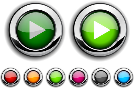 Play realistic buttons.  illustration.  Stock Vector - 6554544