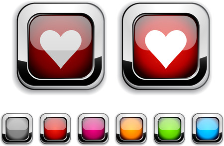 Love realistic icons. Empty buttons included. Stock Vector - 6580027
