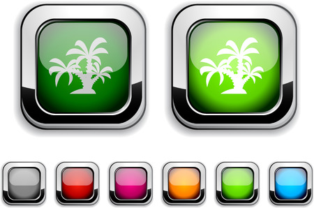 tropical realistic icons. Empty buttons included. Stock Vector - 6580033