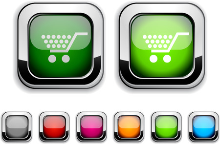 Shopping realistic icons. Empty buttons included.  Vector