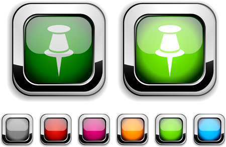 drawingpin: Drawing-pin realistic icons. Empty buttons included. Illustration