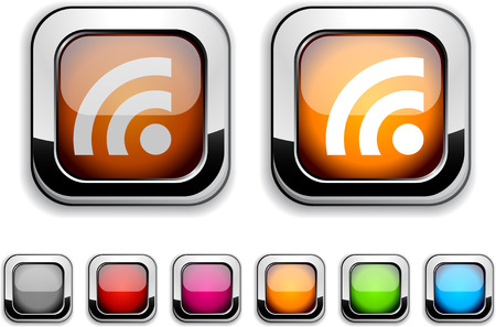 Rss realistic icons. Empty buttons included. Stock Vector - 6584208