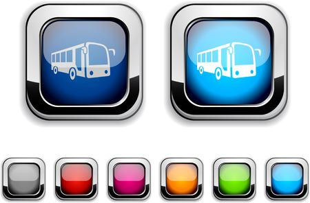 Bus realistic icons. Empty buttons included. Reklamní fotografie - 6584202