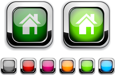 Home realistic icons. Empty buttons included. Stock Vector - 6593375