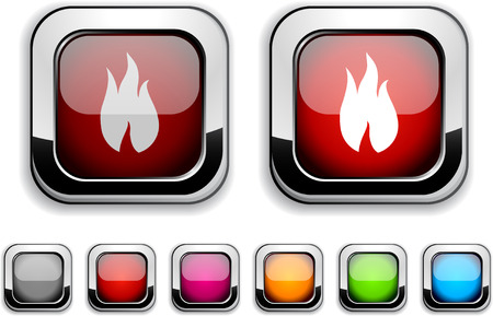Fire realistic icons. Empty buttons included.  Vector