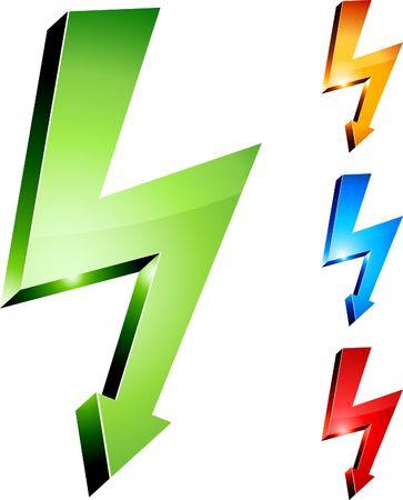 descarga electrica: S�mbolos de advertencia de la electricidad.  Vectores