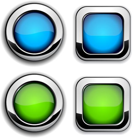 shiny buttons: Collection of shiny buttons.  Illustration