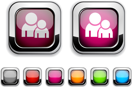 Forum realistic icons. Empty buttons included.  Vector