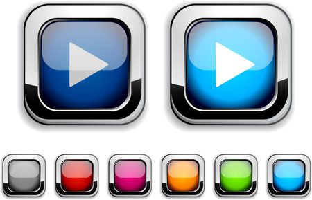 Play realistic icons. Empty buttons included. Stock Vector - 6602029