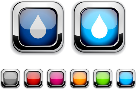 Rain realistic icons. Empty buttons included. Stock Vector - 6602032