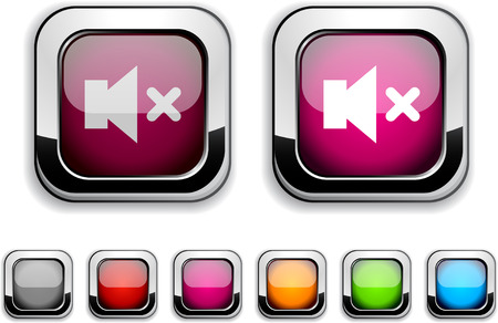 Mute realistic icons. Empty buttons included.  Stock Vector - 6602036