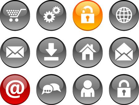arroba: web set of circle glossy icons. Illustration