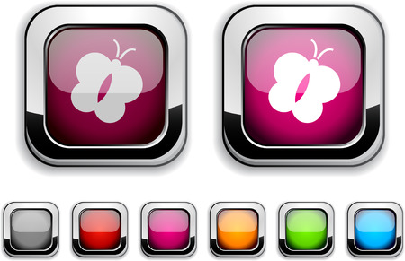 Butterfly realistic icons. Empty buttons included. Stock Vector - 6602039