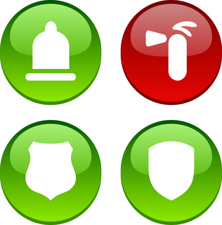 Safety set of circle glossy icons. Stock Vector - 6609385