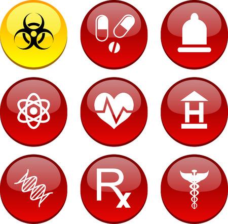 Medical set of circle glossy icons. Vector