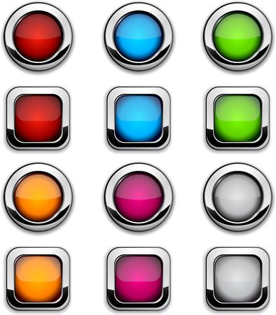 Collection of shiny buttons.  illustration. Stock Vector - 6609403