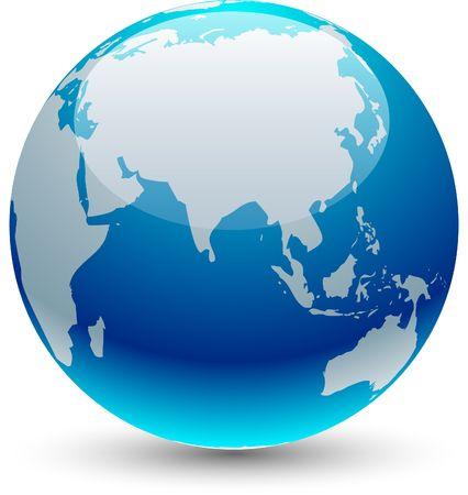 Glossy globe icon.  illustration.  Vector