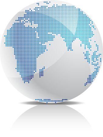 globo terraqueo: Icono 3D de semitono de globo brillante. Vectores