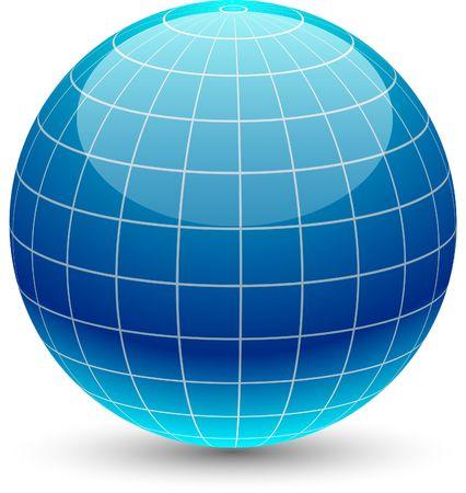 grid: Globo glossy icona. illustrazione.