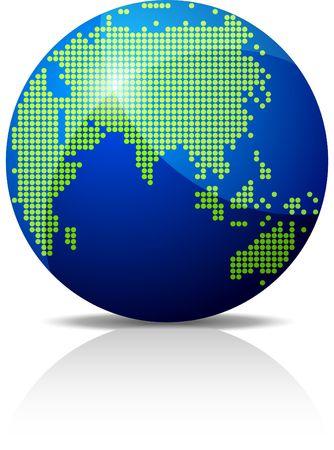 Glossy globe halftone 3D icon. Stock Vector - 6609448
