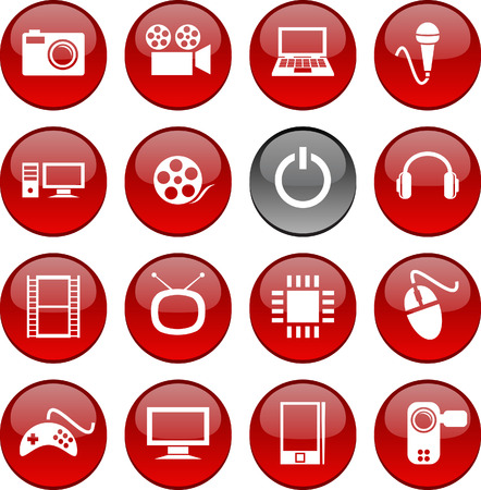 Multimedia set of circle glossy icons. Stock Vector - 6609391