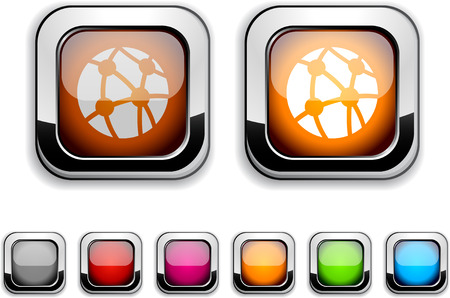 Network realistic icons. Empty buttons included. Stock Vector - 6609444
