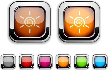 Sun realistic icons. Empty buttons included.  Vector