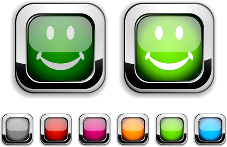 Smiley realistic icons. Empty buttons included.  Vector
