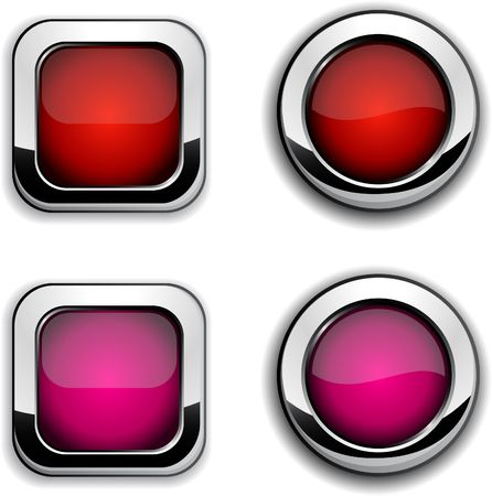 red metallic: Collection of shiny buttons. illustration.