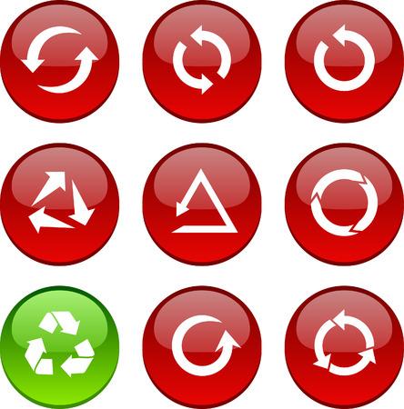 Arrows set of circle glossy icons.