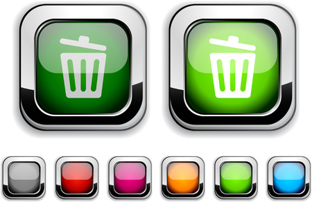 Recycle bin realistic icons. Empty buttons included. Stock Vector - 6621221
