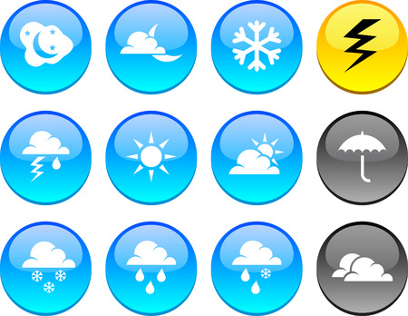Weather set of circle glossy icons. Stock Vector - 6621905