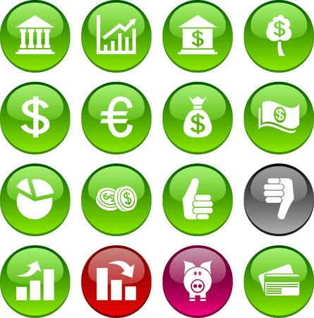 euro: Money set of circle glossy icons. Illustration