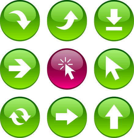Arrows set of circle glossy icons. Vector