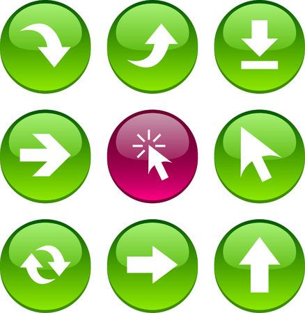 opfrissen: Pijlen set cirkel glanzende pictogrammen.