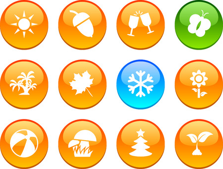 Seasons set of circle glossy icons. Stock Vector - 6621904