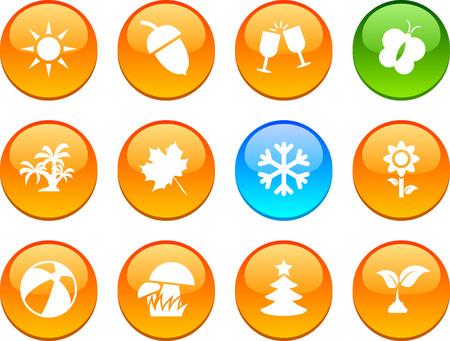 Seasons set of circle glossy icons. Stock Vector - 6621904