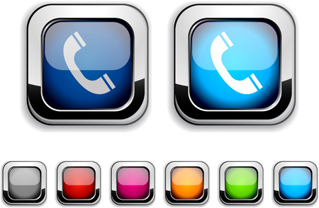 Telephone realistic icons. Empty buttons included.  Illustration