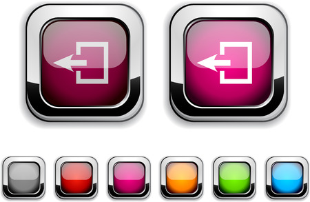 Exit realistic icons. Empty buttons included.  Vector