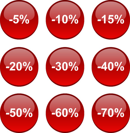 Discount set of circle glossy icons. Vector