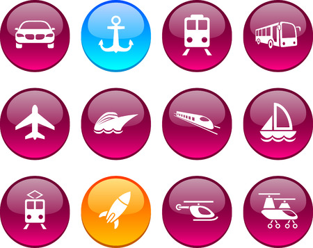 Transport set of circle glossy icons. Stock Vector - 6621903