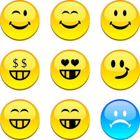 Smiley set of circle glossy icons. Vector