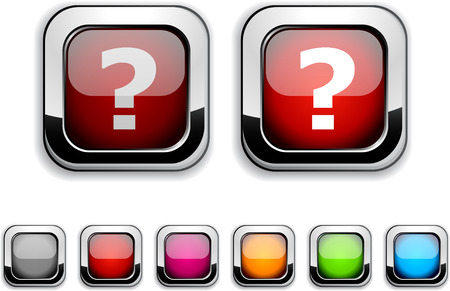 Question realistic icons. Empty buttons included.  Stock Vector - 6621907