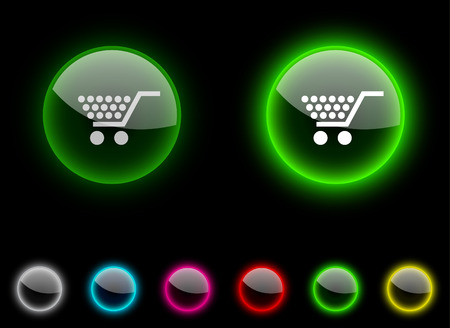 Shopping realistic icons. Empty buttons included. Stock Vector - 6633050