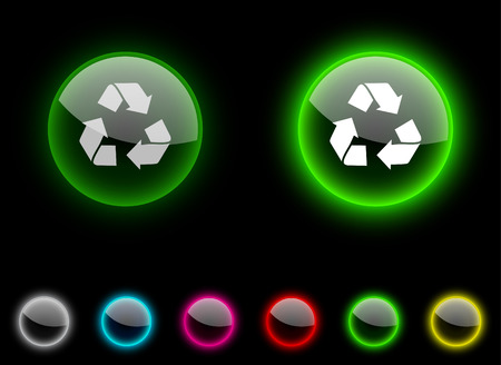 Recycle realistic icons. Empty buttons included.  Vector