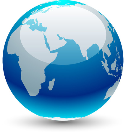 Glossy globe icon.  Vector