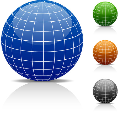green grid: Glossy globe icons.