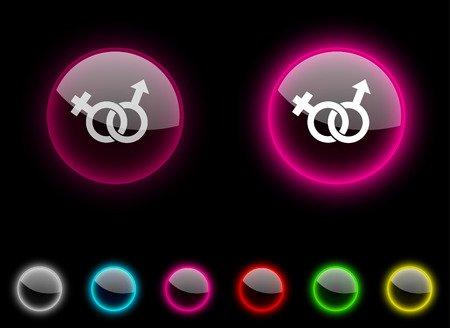 Sex realistic icons. Empty buttons included. Stock Vector - 6648602